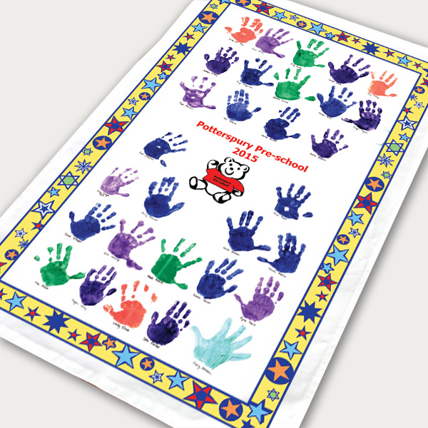 Example school tea towel with hand prints