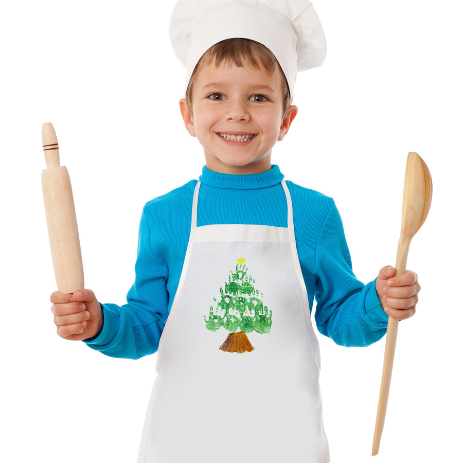 Little cook with ladle and rolling pin