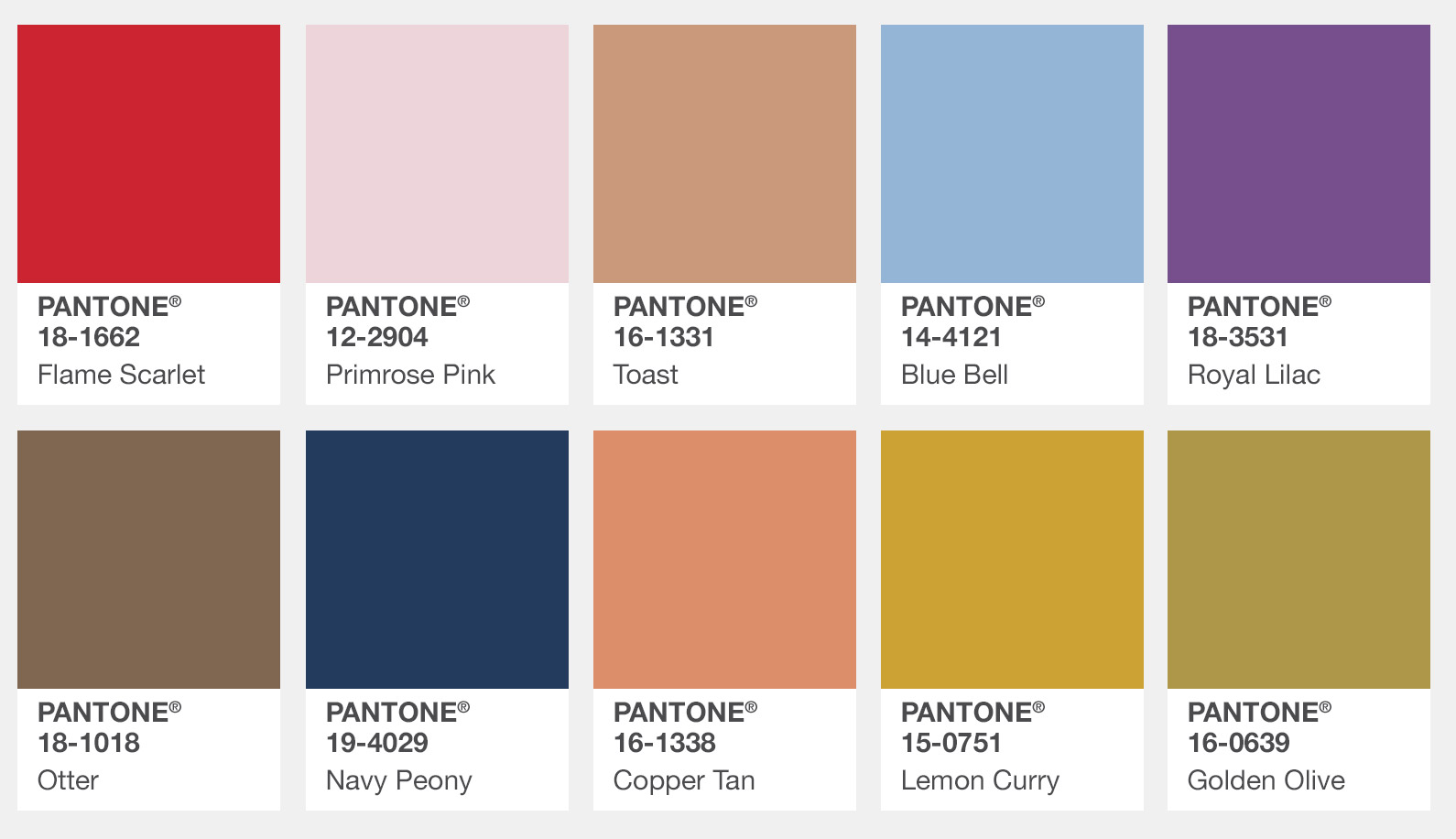 Pantone Colour Swatches - Fall 2017 London
