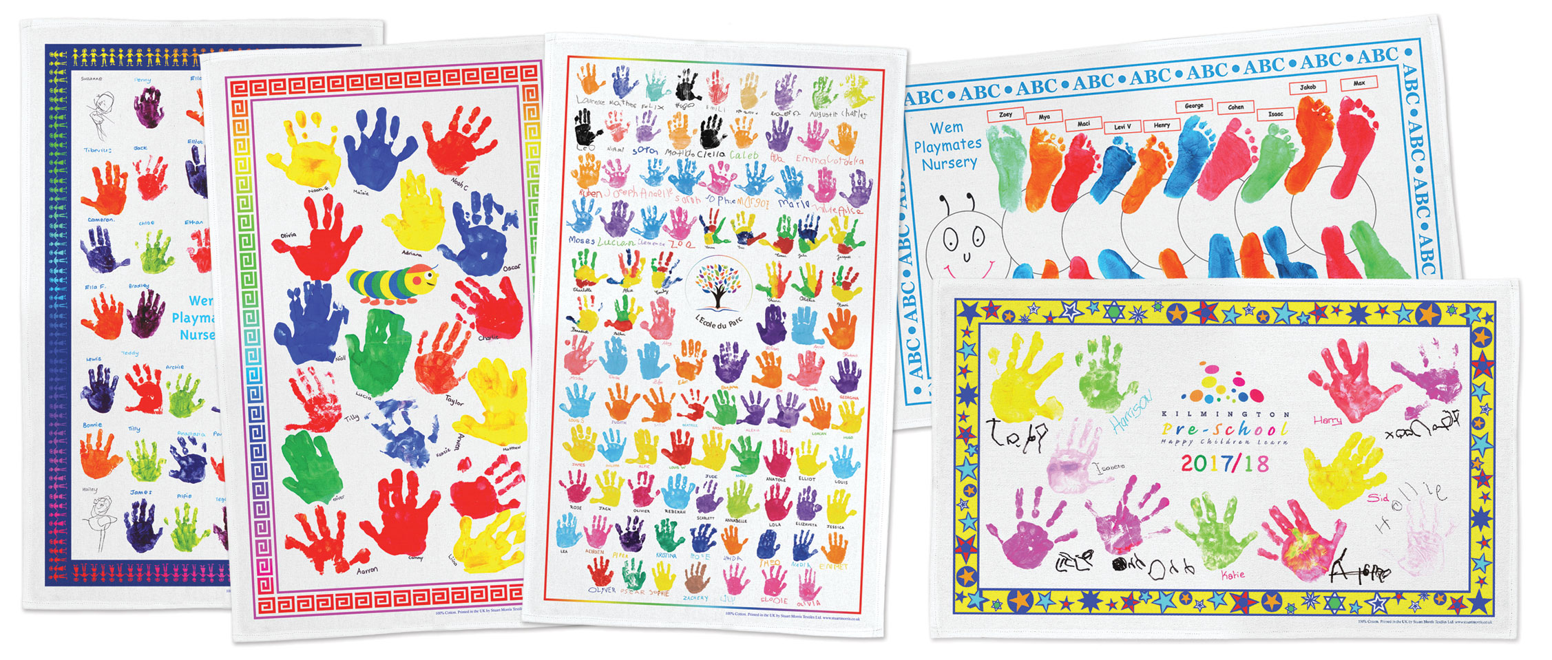 School Tea Towel hand and foot print designs