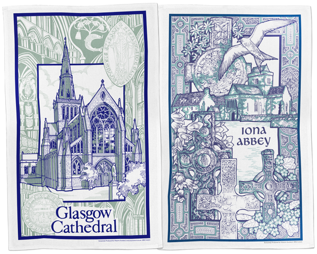 Glasgow Cathedral Iona Abbey Tea Towels By StuartMorris