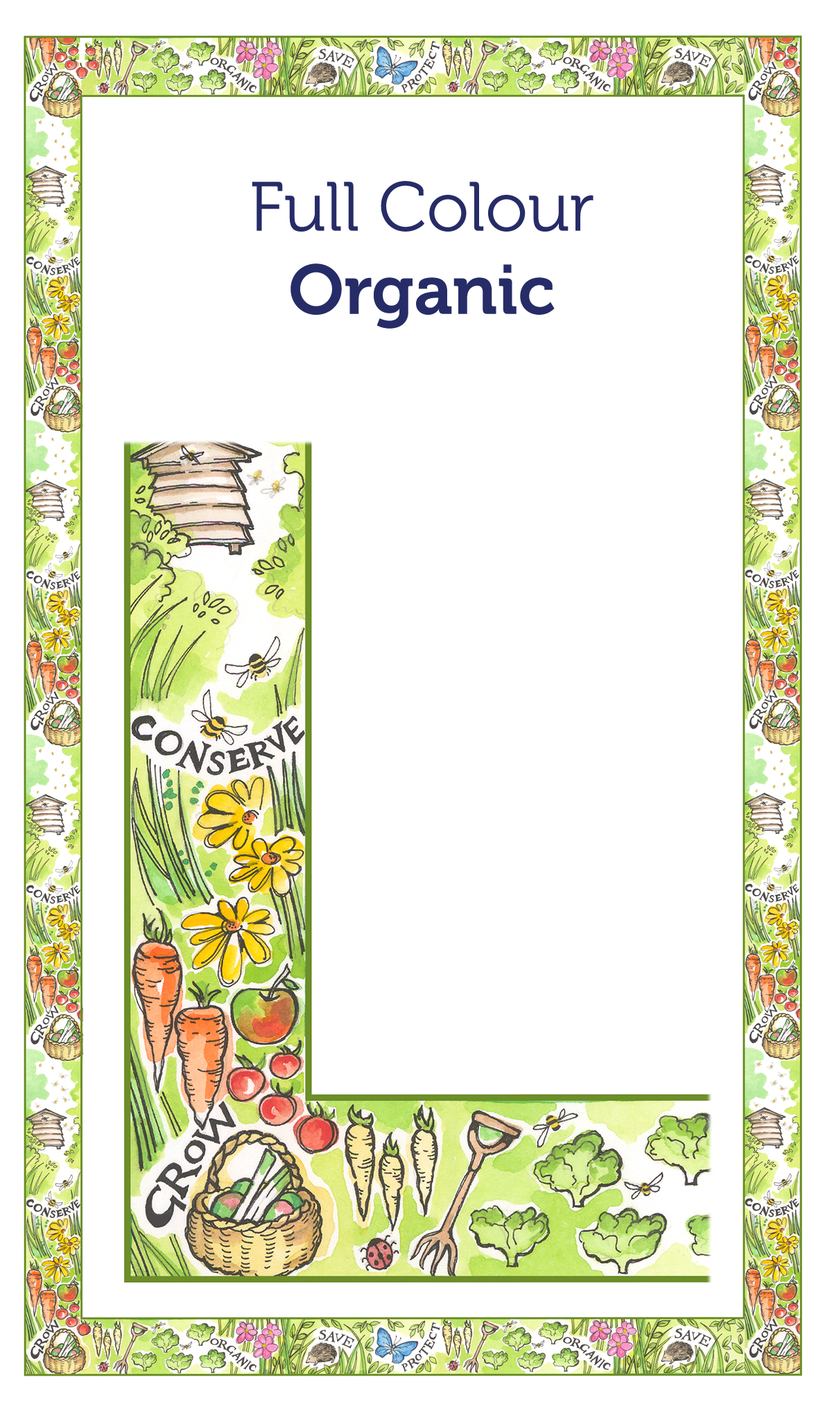 Tea Towel Borders 19 Organic Full Colour